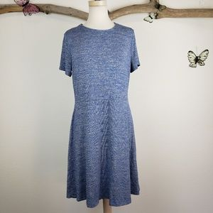 Gap fit and flare tshirt dress heathered blue